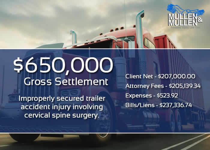 Truck Accident Injury Lawyer Recovered $650,000 Settlement