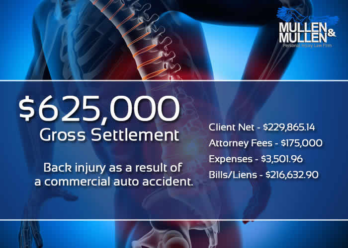 $625,000 Gross Settlement for Back injury as a result of a commercial auto accident.