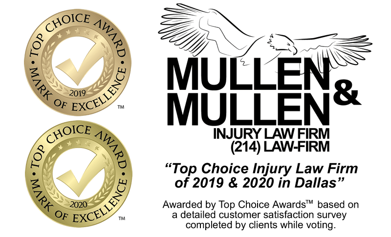 """Top Choice Injury Law Firm of 2019 & 2020 in Dallas"" from Top Choice Awards™"