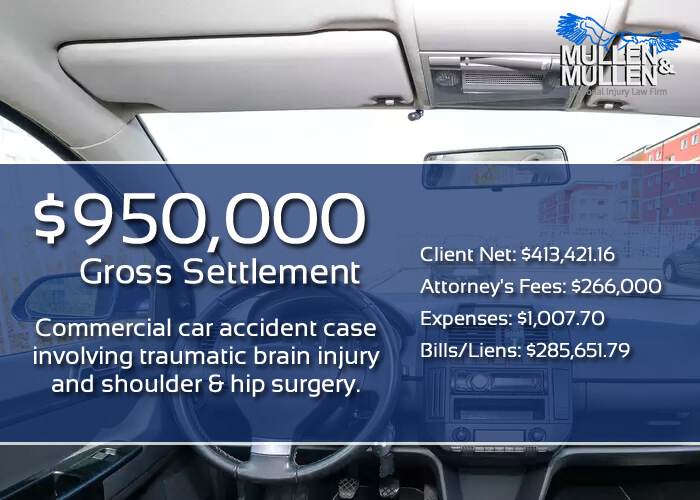 $950,000 Settlement for Dallas Client in Commercial Car Accident with a Head Injury