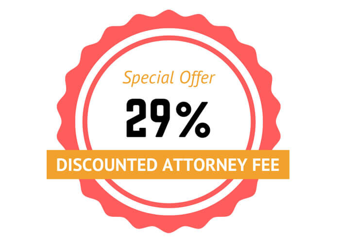 Discounted 29% Attorney Fee Special Offer Badge