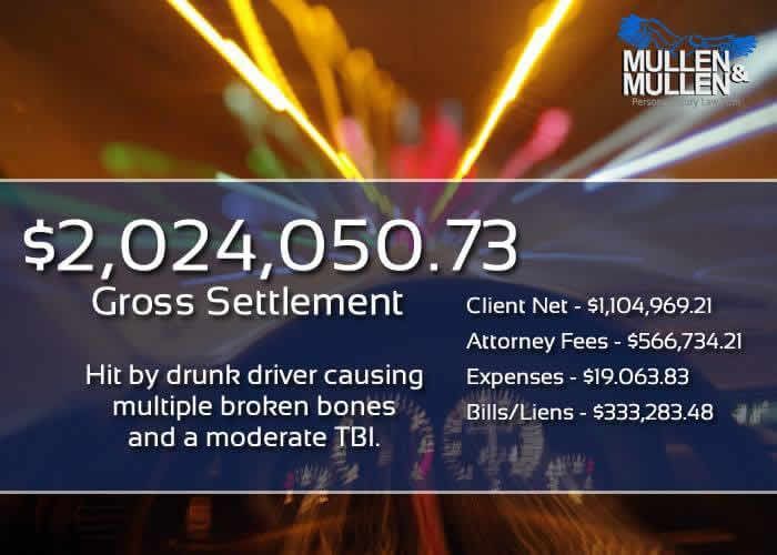 $2,024,050.73 Settlement for Car Accident Injury Caused by Drunk Driver