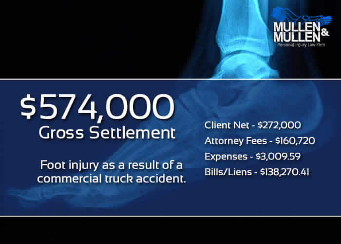 $574,000 Settlement for Commercial Truck Accident Injury