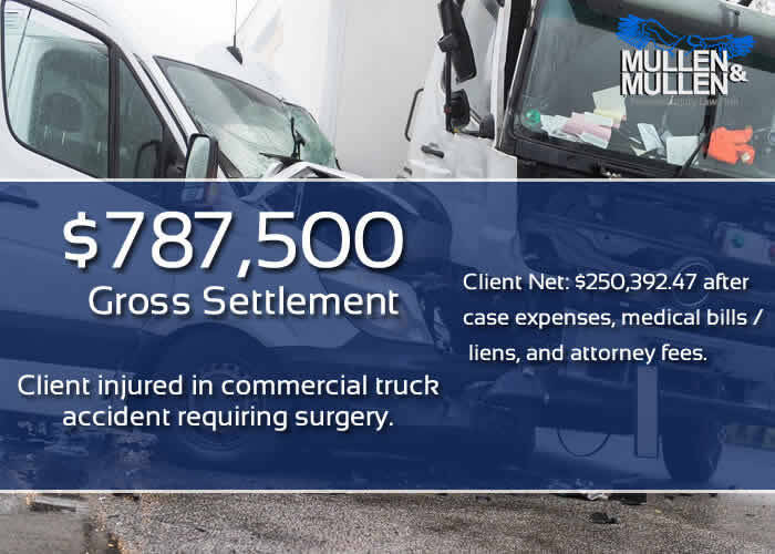 $787,500 Settlement for Commercial Truck Accident Injury