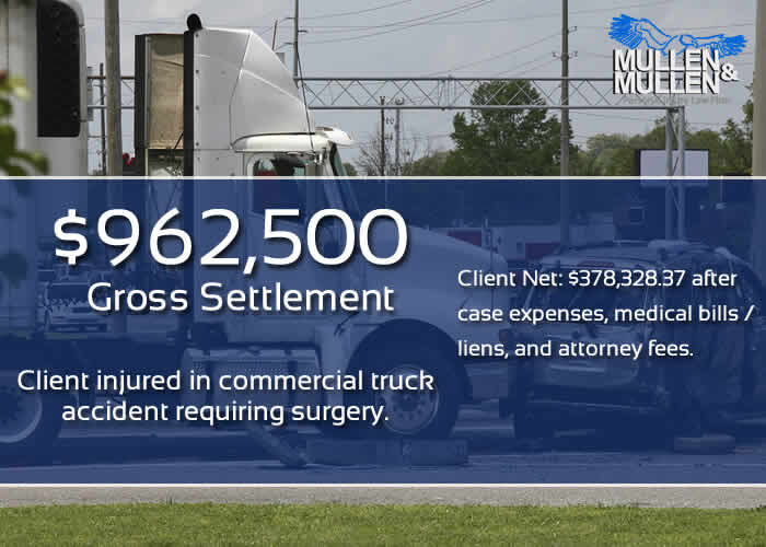 $962,500 Settlement for Commercial Truck Accident Injury
