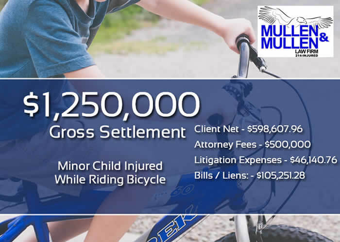 $1,250,000 Personal Injury Verdict for Child Hit by a Motor Vehicle While Riding a Bicycle