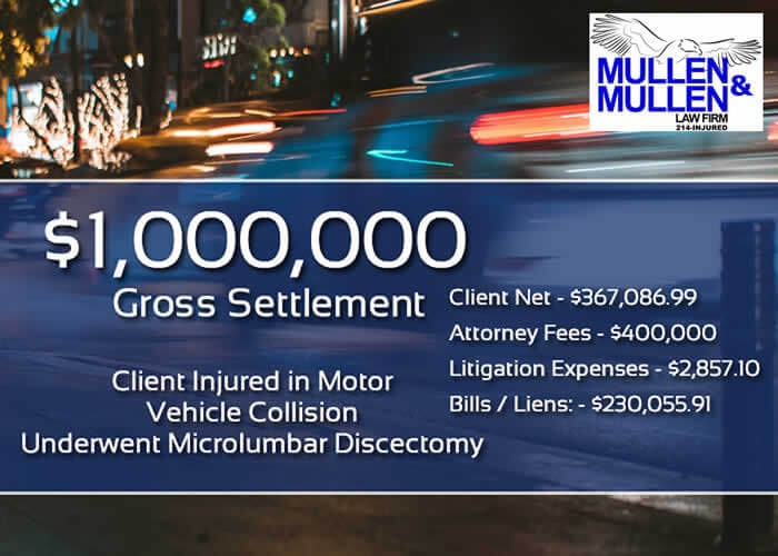 $1,000,000 Personal Injury Verdict for Client Hurt in Car Accident Requiring Microlumbar Discectomy