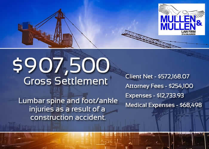 $907,500 Settlement for Lumbar Spine & Foot/Ankle Injuries in Construction Accident