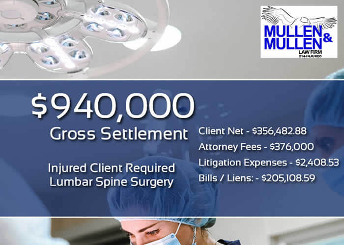 $940,000 Verdict for Client Requiring Lumbar Spine Surgery after Car Accident