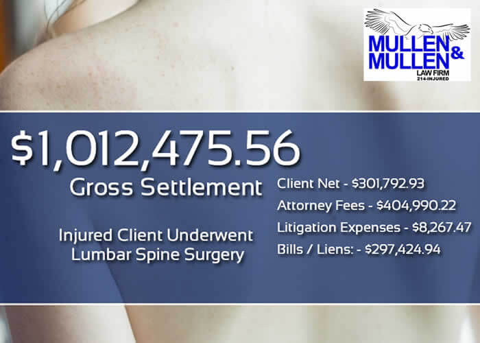 $1,012,475.56 Personal Injury Verdict for Client Requiring Lumbar Spine Surgery after Car Wreck