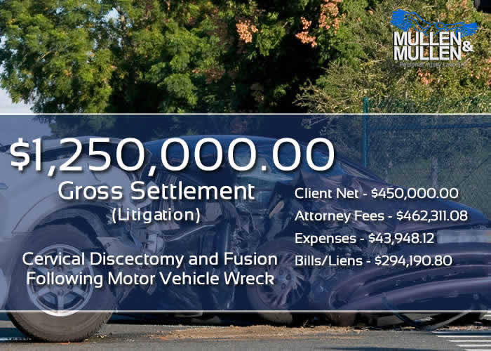 $1,250,000 Verdict for Client Requiring Cervical Discectomy & Fusion Following Car Accident