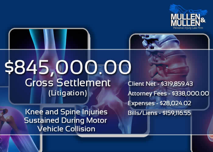 $845,000 Verdict for Client with Knee & Spine Injuries from Car Wreck