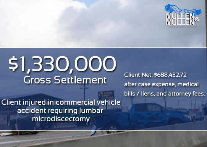 $1,330,000 Settlement for Dallas Client Requiring Lumbar Microdiscectomy